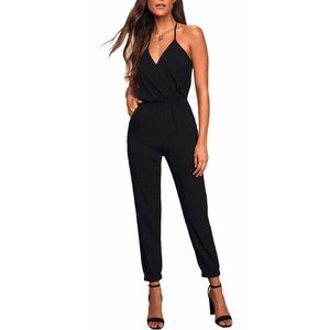Lulu's Sz XS Learning to Fly Black Halter Jumpsuit